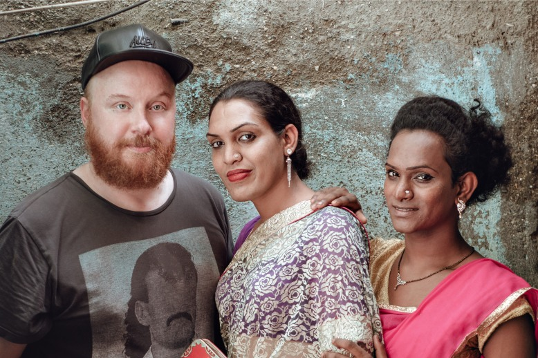 Petter Wallenberg and Paras and friend from the Hijra community in Mumbai, India. Photo by Johannes Helje